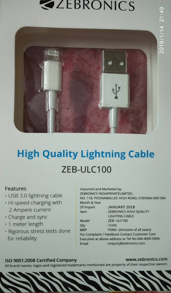 I Phone 5 & 6 Charging Cable From Zebronics   Udaan - India's B2B